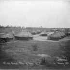 Huts made of mud with thatched roofs at Lado, Anglo-Egyptian Sudan. (Library of Congress, Prints & Photographs Division)
