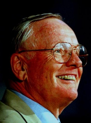 Neil Armstrong at a press conference in 1999.