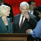 Former House Speaker Newt Gingrich and his wife Callista look over the podium during a sound check at the Republican National Convention today in Tampa, Florida. (AP Photo/J Scott Applewhite)
