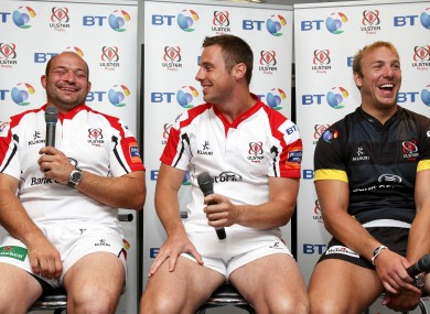 Tommy Bowe (centre) winds up Rory Best, much to the amusement of Stephen Ferris (right).