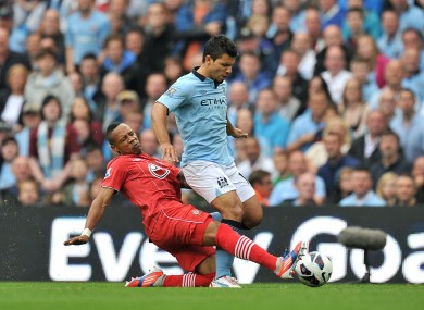Nathaniel Clyne tackles Sergio Aguero.