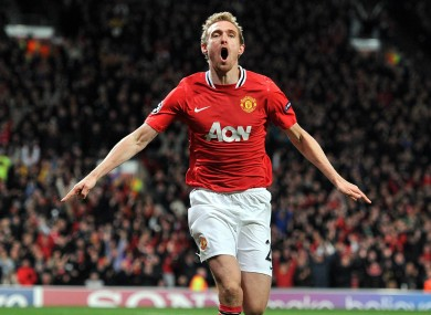 Darren Fletcher celebrates a Champion League goal last season.