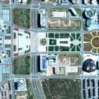 From above, Kangbashi is beautiful. There are almost no cars in the city execpt for those parked around the government centre (ringed, left). (Image: GeoEye/Forensic Asia Limited).