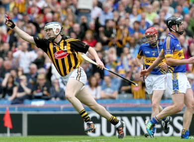 Kilkenny's TJ Reid celebrates scoring his second goal in yesterday's game.