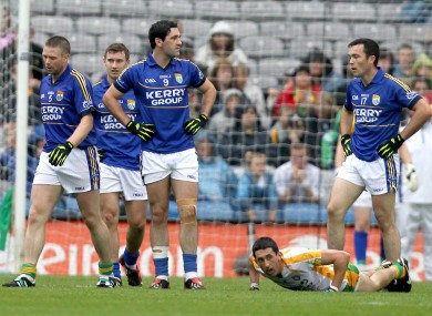 Kerry players Tomas O'Se, James O'Donoghue, Bryan Sheehan and Brian Maguire towards the end of Sunday's game.