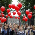 The Turn Off the Red Light Campaign coalition releases red balloons in front of Leinster House, Dublin to mark the submission of its case for outlawing paid sex to a Dail committee reviewing the laws on prostitution. Image: Julien Behal/PA Wire.