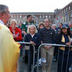 Pictured Archbishop of Dublin Diarmuid Martin who was leading the mass today handing out communion during the mass. Photo: Sam Boal/Photocall Ireland