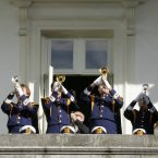 Pictured trumpeters from the Norte Dame Band play from a balcony in Dublin Castle. Photo: Sam Boal/Photocall Ireland