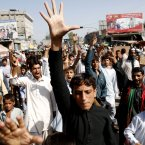 Afghans shout anti-US slogans in the city of Jalalabad, east of Kabul, Afghanistan today during a protest against an anti-Islam film which depicts the Prophet Muhammad as a fraud, a womanizer and a madman. (AP Photo/Rahmat Gul)