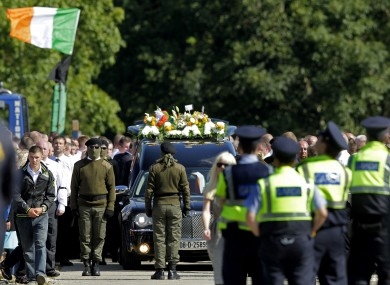 Mourners at the funeral of Alan Ryan in north Dublin yesterday.