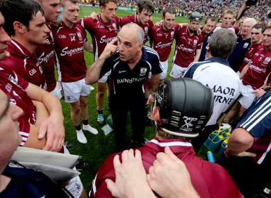 Galway's manager Anthony Cunningham speaks to his team after the game.