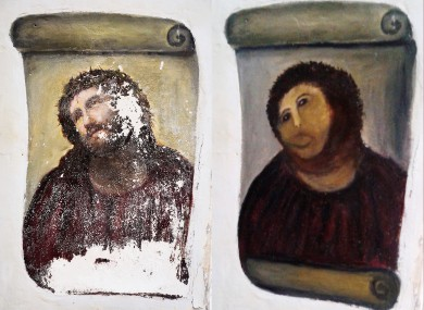 L-R: Boring old fresco, fun tourist attraction.