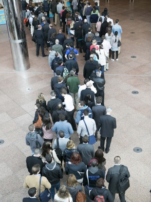 People queuing at the weekend's Career Zoo