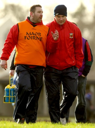 Mayo trainer Cian O'Neill with team manager James Horan.