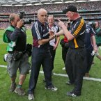 Kilkenny boss Brian Cody has a heated exchange with Galway's Anthony Cunningham at the final whistle. 