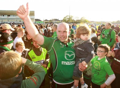 Adrian Flavin celebrates after a home win over Aironi.