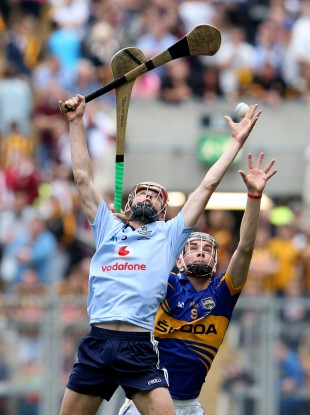 Dublin's Cormac Costello and Tipperary's John McGrath during today's game.