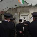 Fire fighters remember Brian Murray and Mark O'Shaughnessy. (Image via Christina Finn)