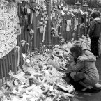 Floral tributes at the gate of the Hillsborough ground the day after the tragedy (Photo: PA/PA Archive/Press Association Images)