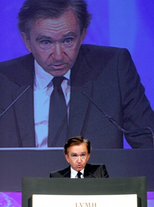 LVMH chairman Bernard Arnault delivers a speech in Paris (File photo)