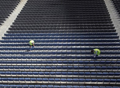 Croke Park staff prepare the stands ahead of the weekend's game.