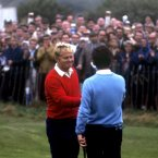 1969: Jack Nicklaus, left, and Tony Jacklin shake hands after their famous halved match at Royal Birkdale.