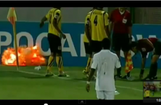 VIDEO: Someone in Iran threw a grenade on a football pitch JUST before it blew up