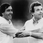 1987: Seve Ballesteros and Europe captain Tony Jacklin celebrate their team's lead over the US.
