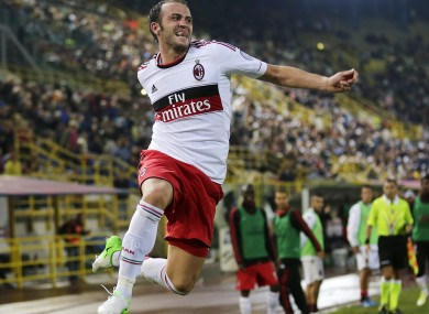 Giampaolo Pazzini celebrates after scoring against Bologna early this month.