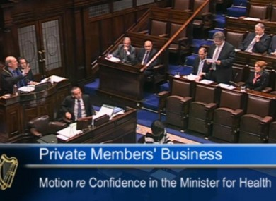 The scene in the Dáil earlier this evening.