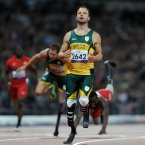 South Africa's Oscar Pistorius looks dejected after finishing 2nd in the Mens 200m - T44 Final at the Olympic Stadium, London.