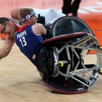 GB's Aaron Phipps and France's Eric Meurisse during the Wheelchair Rugby at the Paralympics. Chris Radburn/PA Wire/Press Association Images