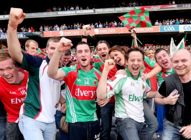 Mayo fans celebrating during their All-Ireland semi-final win over Dublin.