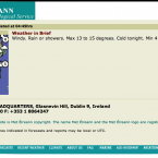 The very first website of Met Éireann fulfilled all the basic functions - including, as this grab shows, updates of the weather from 4:45am.