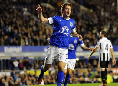 Everton's Leighton Baines celebrates after he scores the first goal of the game for his side on Monday night.