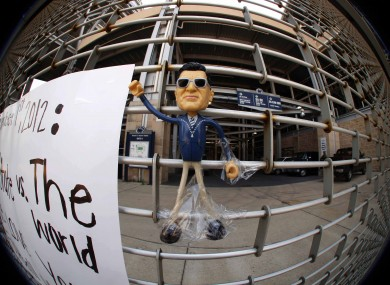 A figure of former Penn State University head coach Joe Paterno is taped to Gate A of Beaver Stadium on the Penn State University main campus.