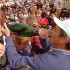 1995: Seve Ballesteros celebrates with champagne after Europe's win at Oak Hills Country Club.