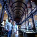 The main chamber of the Old Library is the Long Room. At nearly 65 metres in length, it is filled with 200,000 of the Library's oldest books. Image: Tony Pleavin/Tourism Ireland.