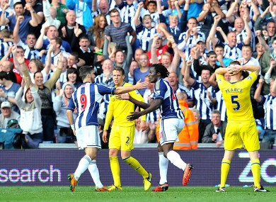 West Bromwich Albion's Romelu Lukaku (right) celebrates scoring his side's first goal of the game with teammate Shane Long.