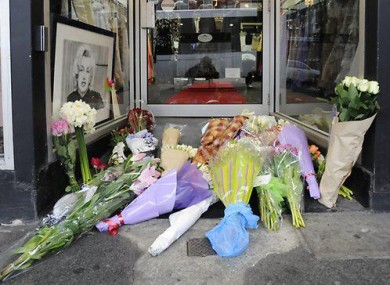 A small sample of the flowers left outside a bridal shop, from where CCTV showing Jill Meagher's last movements was recorded last week.