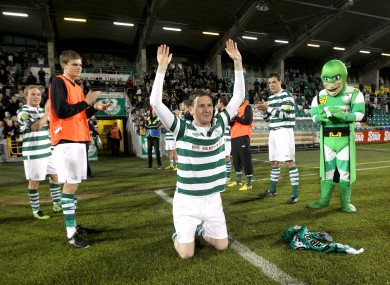 An emotional Gary Twigg of Shamrock Rovers after his last home appearance.