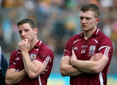 Galway's Andy Smith and Joe Cannning disappointed after the game.