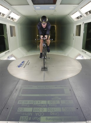 Armstrong warms up before riding a Trek prototype bicycle in 2008.