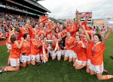 Armagh players celebrate their success.