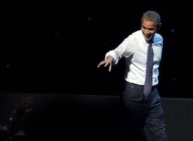 Barack Obama at the Nokia Theatre in LA on Sunday.