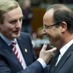 Enda Kenny share the LOLs with French President Francois Hollande during a round table meeting at an EU summit in Brussels.  (AP Photo/Geert Vanden Wijngaert)