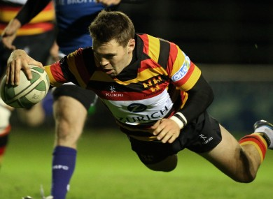 Lansdowne's Craig Ronaldson scores his sides first try 