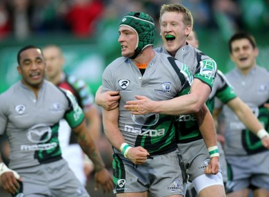 Dave McSharry celebrates his try against Harlequins.