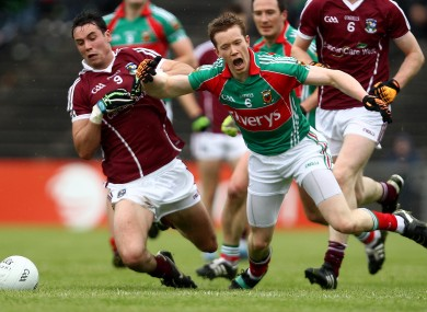 Galway's Finian Hanley and Mayo's Donal Vaughan battling in their 2011 Connacht semi-final meeting.