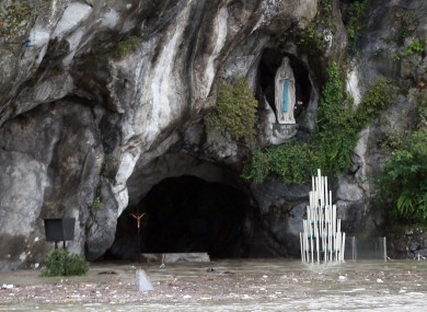 The famous Grotto in Lourdes, where the Virgin Mary is said to have appeared in the 19th century, is under five feet of water after intense floods.